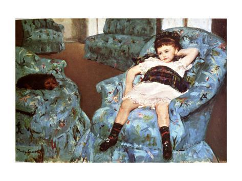 Little Girl Sitting in Blue Arm Chair Giclée-tryk