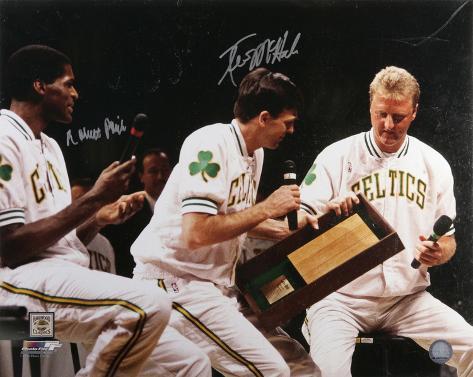 McHale & Parish Celtics Larry Bird Retirement Autographed Photo (Hand Signed Collectable) Foto