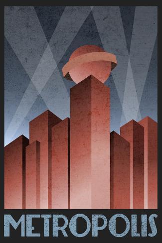 Metropolis Retro Travel Poster Plakat