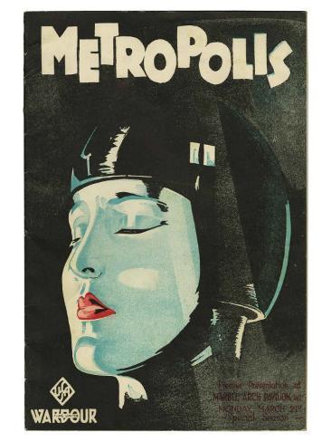 Metropolis, UK Movie Poster, 1926 Kunsttryk