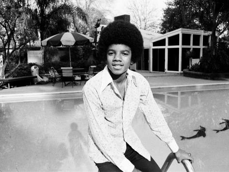 Michael Jackson at Home in Los Angeles by the Poolside, February 23, 1973 Fotografisk trykk