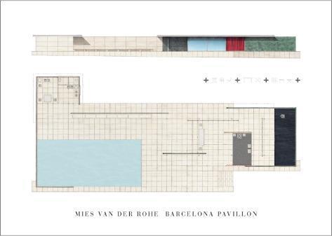 barcelona pavillon kunst af mies van der rohe p. Black Bedroom Furniture Sets. Home Design Ideas