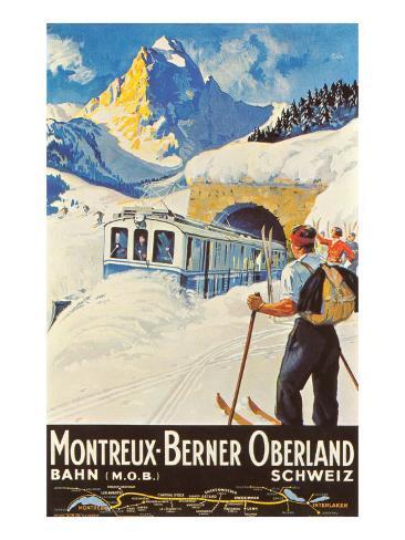 Montreux Ski Poster Kunsttryk