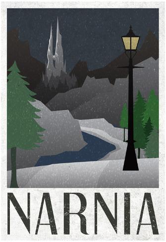 Narnia Retro Travel Poster Plakat