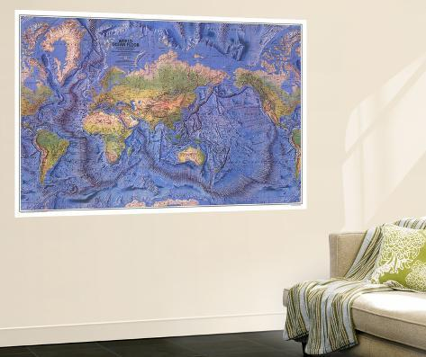 1981 World Ocean Floor Map Giant Art Print