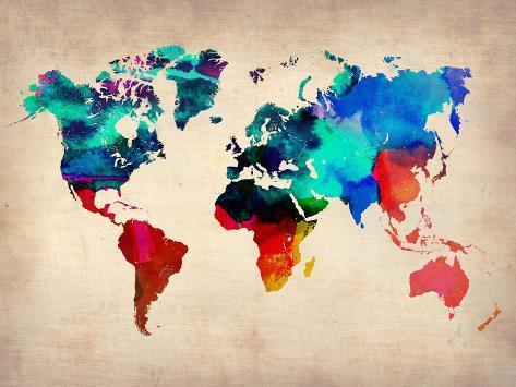 World Watercolor Map 1 Kunsttryk