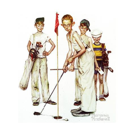 Four Sporting Boys: Golf Giclee-trykk