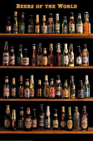 Øl fra hele verden, på engelsk Plakat