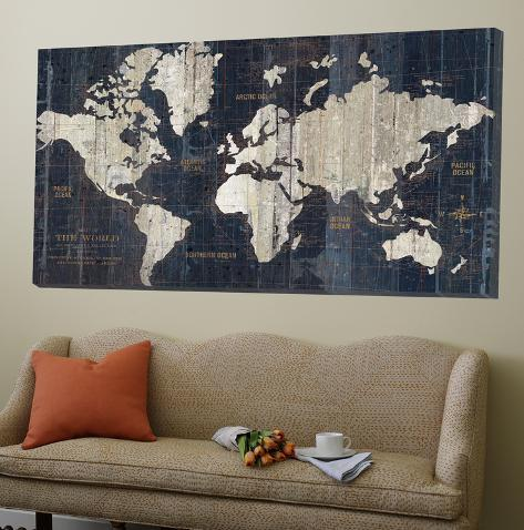 Old world map blue Store lerret
