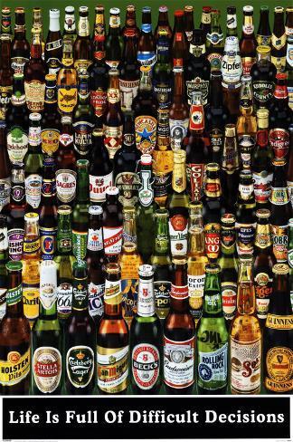 Ølflasker, på engelsk Plakat