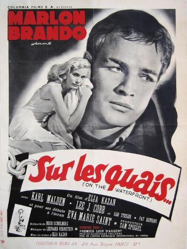 On the Waterfront, French Movie Poster, 1954 Kunsttrykk