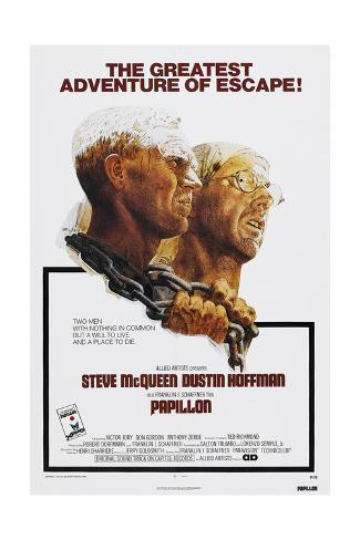 Papillion, US poster, Steve McQueen, Dustin Hoffman, 1973 Kunsttryk