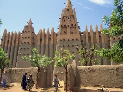 Mosque in Old Town, Mopti, Mali, Africa Fotografisk trykk