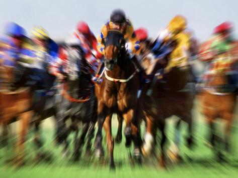 Horse Race in Motion Premium fotografisk trykk