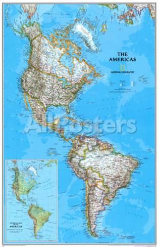 kart over amerika Politisk kart over Amerika Plakater hos AllPosters.no kart over amerika