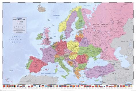 Politisk kort over Europa Plakat