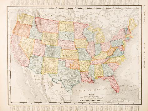 Antique Vintage Color Map United States of America, USA Fotografisk trykk