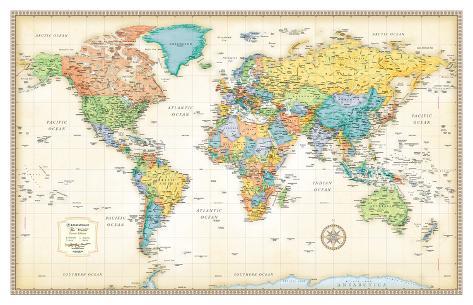 Rand Mcnally Classic World Map Kæmpeplakat