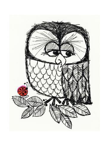 Retro Black and White Owl with Ladybug Kunsttrykk