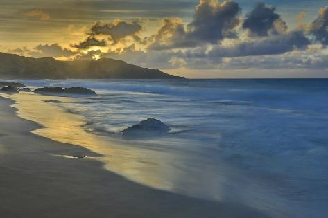 Sandy Shore at Kaehu Point, Mo'Omomi Beach, Nature Conservancy, Molokai, Hawaii Fotografisk trykk