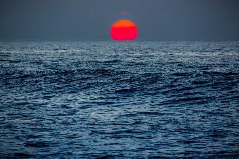 Sunset at Papohaku Beach, West End, Molokai, Hawaii Fotografisk trykk