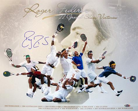 Roger Federer Grand Slam Victories Collage Autographed Photo (Hand Signed Collectable) Foto