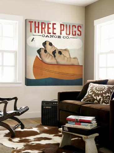 Three Pugs in a Canoe Store lerret