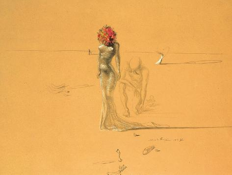 Kvinnelig figur med hode av blomster, 1937|Female Figure With Head of Flowers, 1937 Kunsttrykk