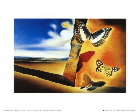 Landskap med sommerfugler|Landcape with Butterflies Kunsttrykk