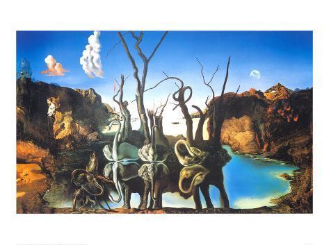 Spejlbillede af elefanter  Kunsttryk