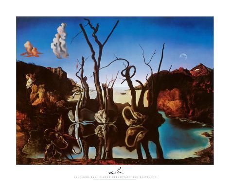 Svaner genspejler elefanter, ca.1937 Kunsttryk