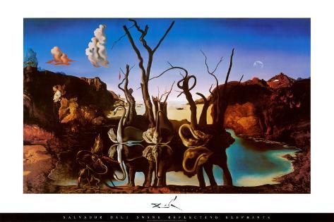 Svaner som gjenspeiler elefanter, ca. 1937 Plakat