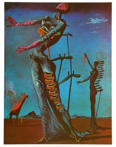The Burning Giraffe, c. 1937 Kunsttrykk