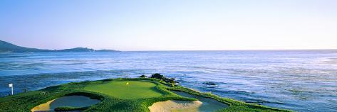 Sand Traps in a Golf Course, Pebble Beach Golf Course, Pebble Beach, Monterey County Premium fotografisk trykk