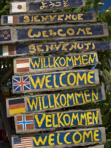 Welcome Signs, Laem Tong Beach, Phi Phi Don Island, Thailand, Southeast Asia, Asia Fotografisk tryk