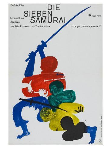 Seven Samurai, German Movie Poster, 1954 Kunsttryk