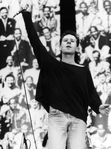 Simple Minds Rock Band Jim Kerr Celebrating Nelson Mandelas 70th Birthday at Wembley Stadium Fotografisk tryk