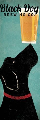 Sort hund, ølreklame, på engelsk Kunsttryk