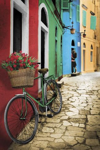 Sykkel med blomster Plakat