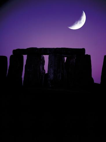 Crescent Moon Over Stonehenge, England Fotografisk tryk