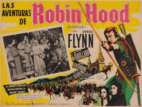 The Adventures of Robin Hood, Mexican Movie Poster, 1938 Kunsttryk
