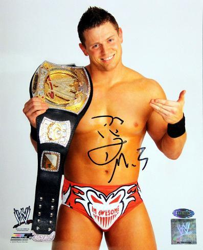 The Miz Pointing to Belt No Shirt Signed Foto