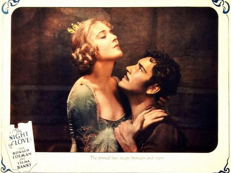 THE NIGHT OF LOVE, l-r: Vilma Banky, Ronald Colman on lobbycard, 1927 Kunsttryk