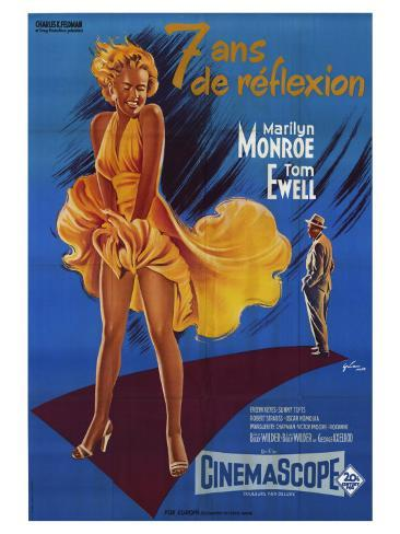 The Seven Year Itch, French Movie Poster, 1955 Kunsttryk