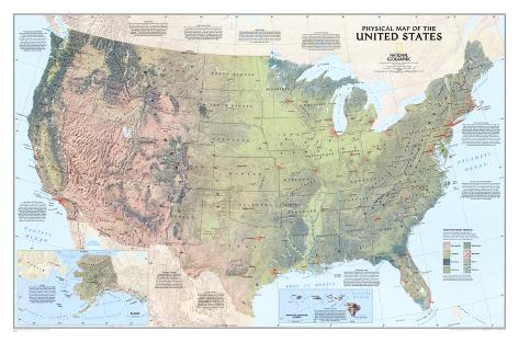 United States Physical Map Plakat