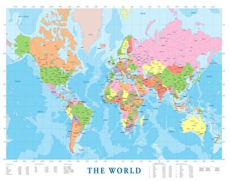 verdens kart Verdenskart Kunst hos AllPosters.no verdens kart