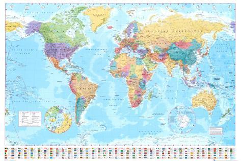 Verdenskort, på engelsk Plakat