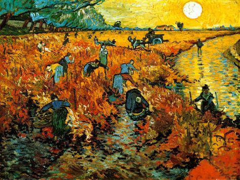 Den røde vingård, ca. 1888 Kunsttryk