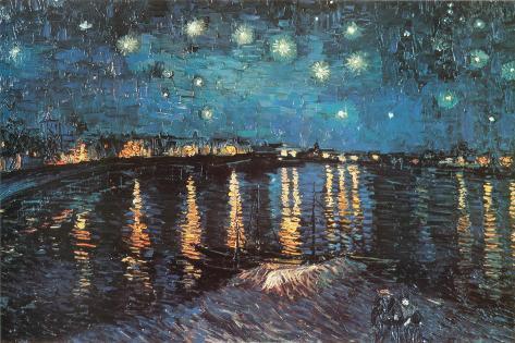 Stjernenatt over elven Rhône, ca. 1888|Starry Night Over the Rhone, c.1888 Plakat