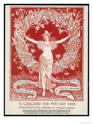 A Garland for May Day, 1895 Giclée-tryk
